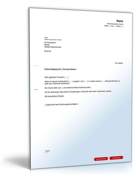 Entschuldigung Brief Beispiel entschuldigung schulkind zusp 228 tkommen vorlage zum