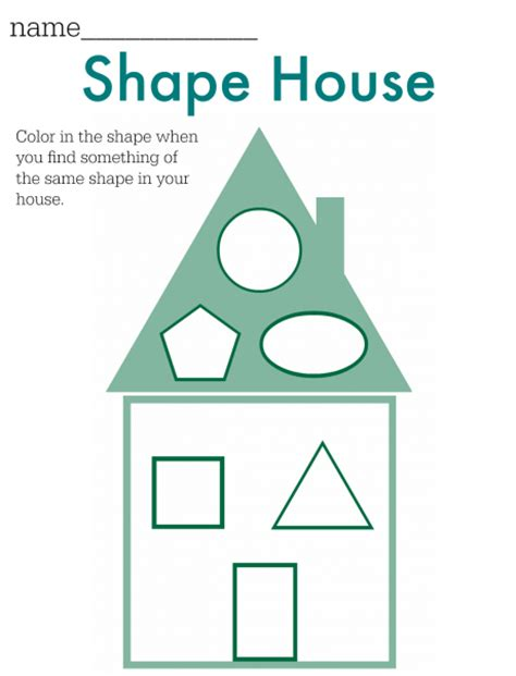 shape of house shape hunt worksheet free printable no time for flash