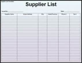 supplier list template word excel templates