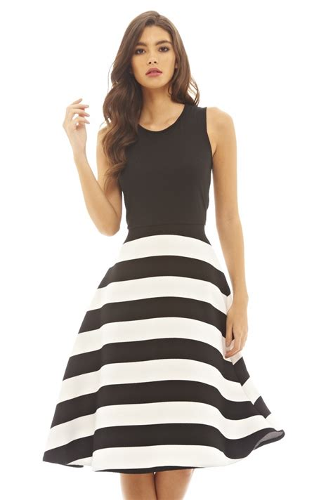 Ladie 2 In 1 ax womens 2 in 1 striped midi skater dress black