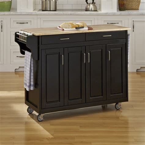 shop home styles black scandinavian kitchen cart at lowes
