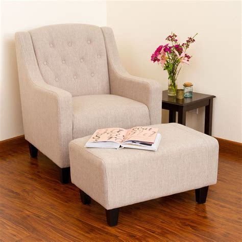 small bedroom chair with ottoman living room furniture light beige tufted fabric chair and