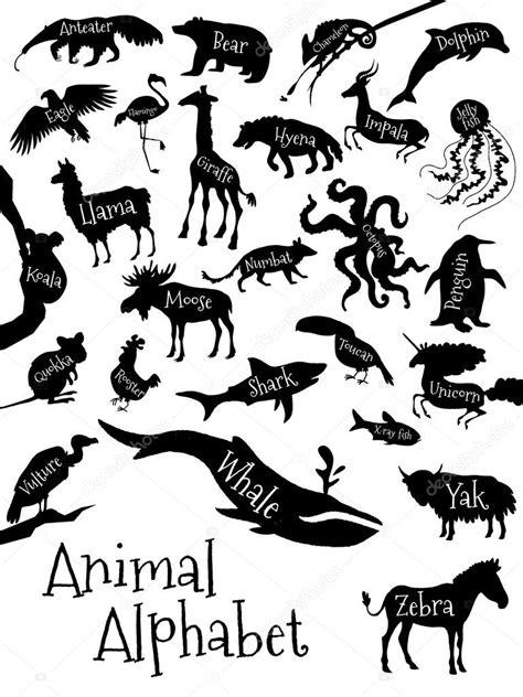 Names Letter V animal alphabet poster for children animal silhouettes