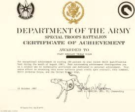 army certificate of achievement template certificate of achievement