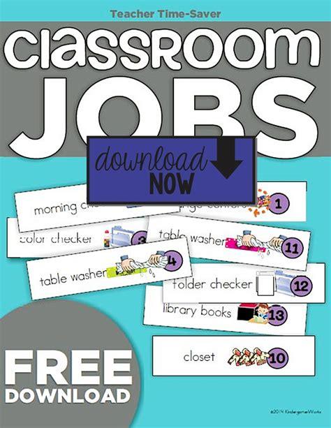 printables for kindergarten classroom kindergarten classroom jobs picture list freebie
