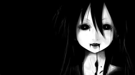 wallpaper anime girl black face dark anime anime girls black background