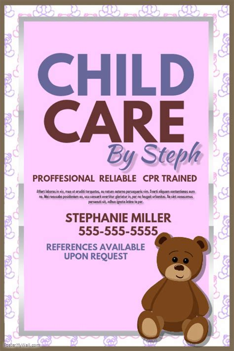free templates for caign posters child care template postermywall