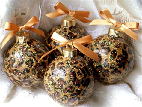 leopard animal print glass christmas ornaments lot of 4