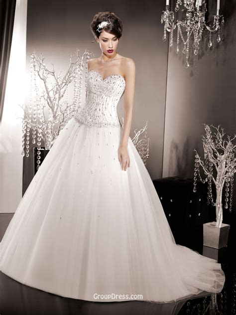 strapless organza wedding ball gown with corset bodice