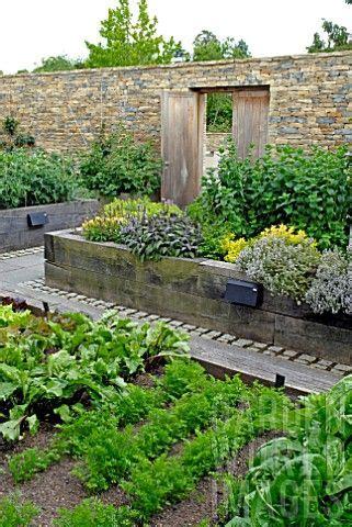 Contemporary Walled Kitchen Garden With Raised Beds From Walled Kitchen Garden