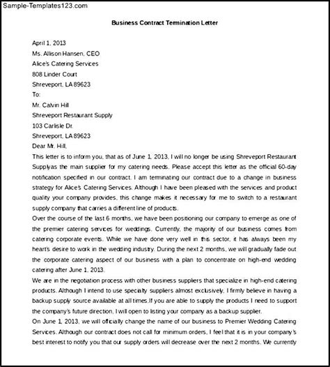 Contract Letter For Business Free Business Contract Termination Letter