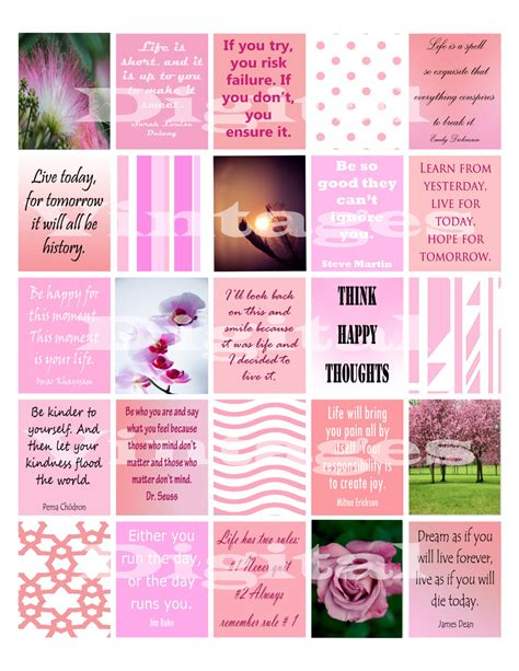 printable motivational stickers quotes stickers pink planner stickers inspiration quote life flowers happy