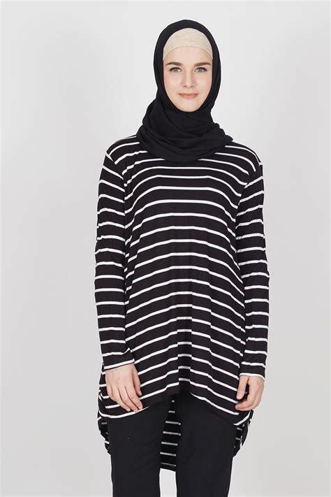 Salur Putih sell nurie hitam salur putih tops hijabenka