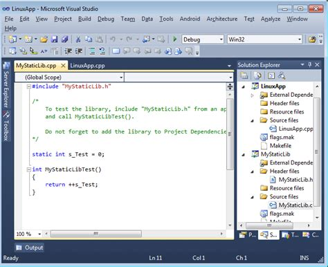 tutorial linux make creating linux libraries with visual studio visualgdb