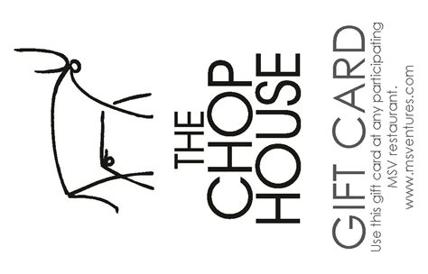 Chops Gift Card - the chop house gift card mainstreet ventures
