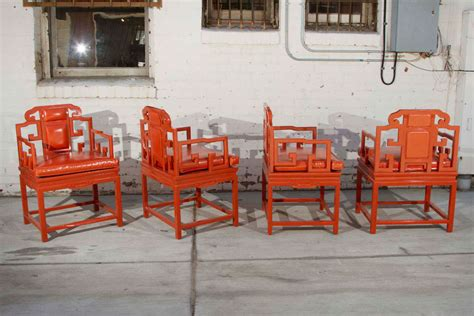 chinoiserie orange lacquer dining set at 1stdibs