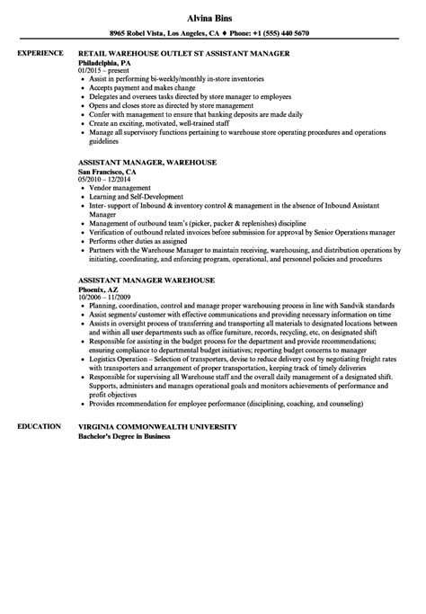 Warehouse Manager Resume by Warehouse Assistant Manager Resume Sles Velvet