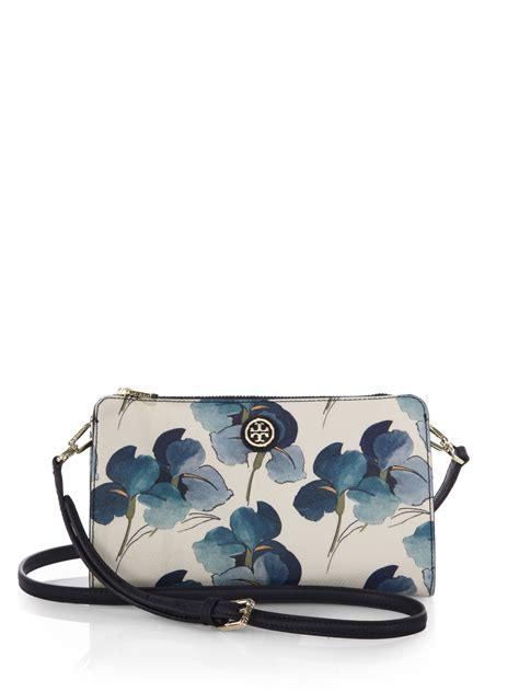 Burch Canvas Suede Crossbody lyst burch kerrington floral coated canvas crossbody wallet in blue