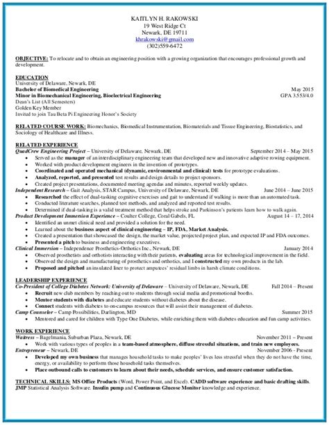 biomedical engineering resume sles kaitlyn h rakowski biomedical engineering resume