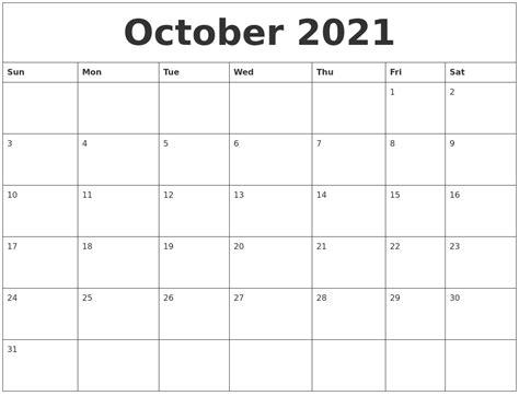 october 2021 calendar templates free