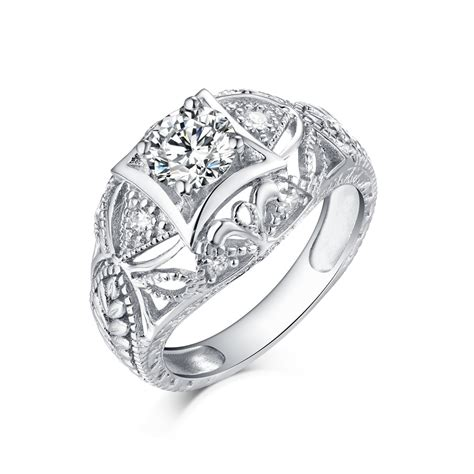 S925 Silver Ring cut s925 silver white sapphire deco engagement
