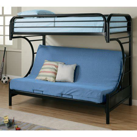 coaster  style twin  full futon metal bunk bed black