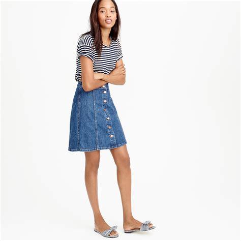 Button Front Mini Skirt j crew button front denim mini skirt in blue lyst