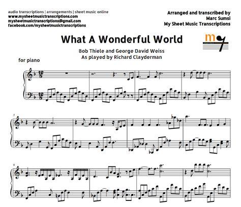 what a wonderful world what a wonderful world richard clayderman sheet music and midi file