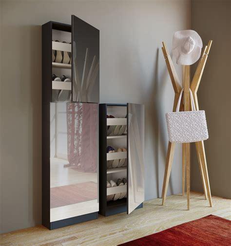spiegelschrank schwarz schuhschrank schwarz mit spiegel schuhablage schuhregal