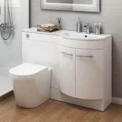 White Vanity Basin 1200mm Right Modern Bathroom Gloss White Basin
