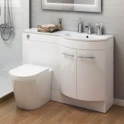 1200mm right hand modern bathroom gloss white basin