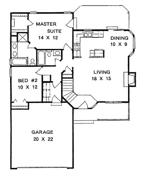 traditional style house plan 2 beds 2 baths 1075 sq ft