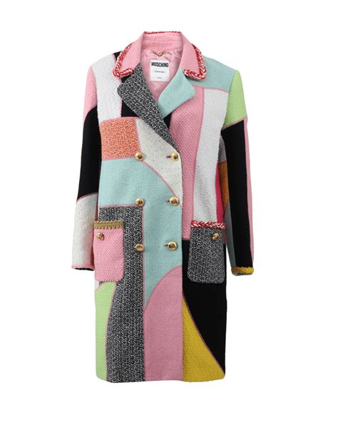 Patchwork Coats - moschino patchwork tweed coat in multicolor multi lyst