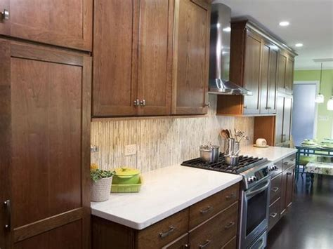 Used Kitchen Cabinets And Countertops by Warm Brown Cabinets Are Paired With Clean White