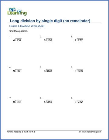 printable worksheets on long division grade 4 long division worksheets free printable k5