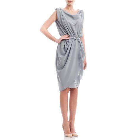 silk drape dress blue crepe silk draped dress laura hincu shop