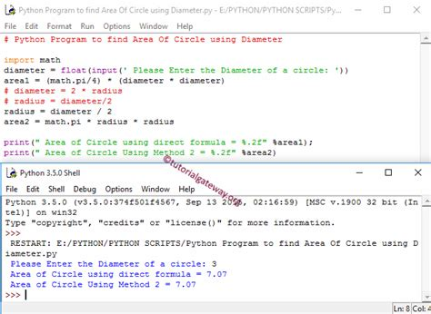 java pattern hyphen python program to find area of circle