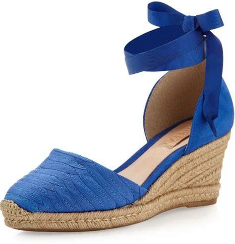 schutz grosgrain ankle wrap espadrille wedge blue in blue
