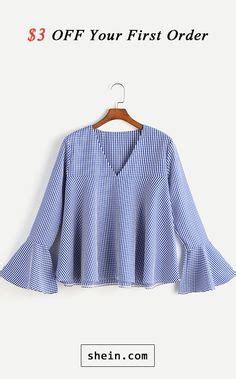 Bell Sleeve V Neck Gingham Blouse white neck ruffle sleeves dress black and white in