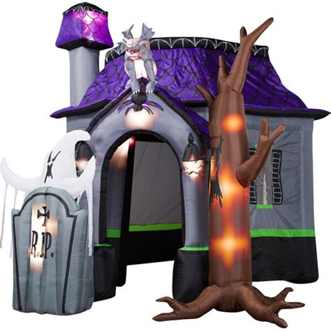 inflatable haunted house airblown halloween inflatable haunted house with dead tree walmart com