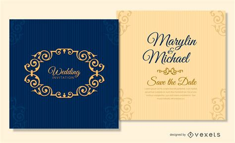 blue card template navy blue wedding card template vector