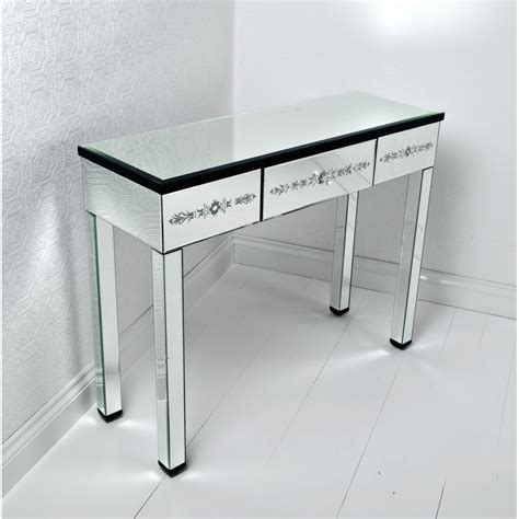 rectangle glass corner vanity table with 3 drawers and high legs decofurnish