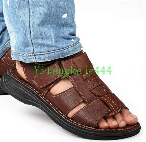 Brown Sandal For Sandal Pria Pu Leather Jk113 s summer open toe leather casual sport sandals shoes flat comfort new ebay