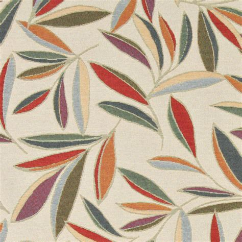 contemporary upholstery fabric red orange gold green blue leaf contemporary