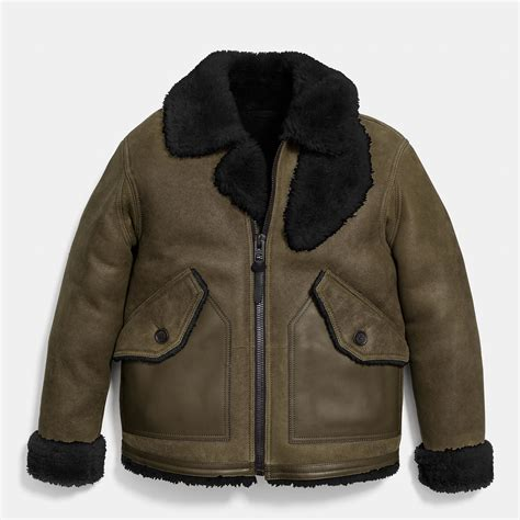 Shearling Jacket lyst coach shearling b3 bomber jacket in green for