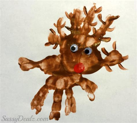 reindeer craft projects rudolph the nosed reindeer handprint project for
