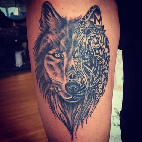 wolf tattoos for females wolf thigh ink