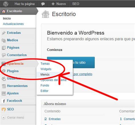 tutorial en wordpress tutorial de wordpress men 250 s en wordpress haz tu pagina