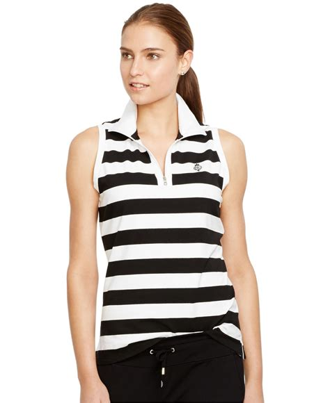 turtleneck stripe top lyst by ralph striped sleeveless mock