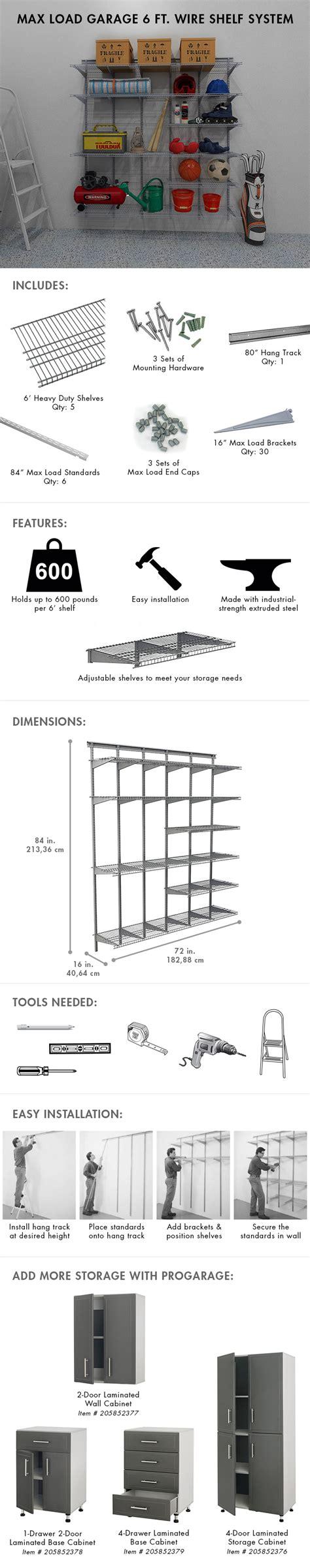 Closetmaid Maximum Load Closetmaid Max Load Garage 6 Ft X 16 In Satin Chrome